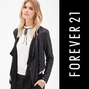 Forever 21 Drape Front Sequin Jacket Black